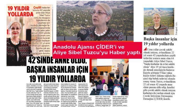 Anadolu Ajansı ÇİDER i Ve Aliye Sibel Tuzcu'yu haber yaptı