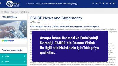 Coronavirus Covid-19: Gebelik ve gebe kalma üzerine ESHRE bildirimi